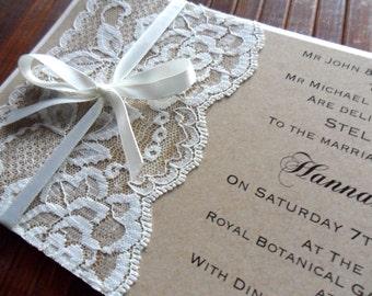 Rustic Vintage Lace Wedding Invitation | rustic wedding | rustic invitation | modern rustic invites | Lace Invitations | ivory