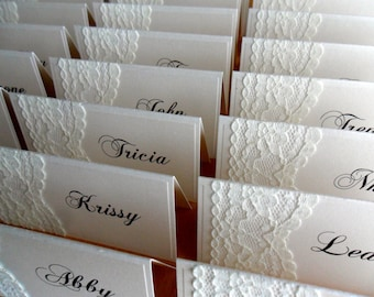 100 IVORY Vintage Lace Place Cards - Weddings, Engagement and Birthday Celebrations