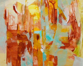 Orange Painting Brown Painting Reed Painting Abstract Painting Original Modern