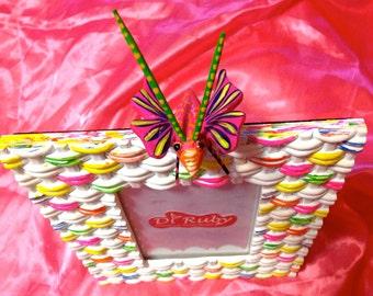 Unique Buterfly 4x6 Ceramic Picture Frame Bright Colors