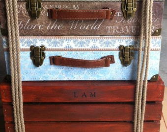 Personalized Suitcase End Table or Nightstand