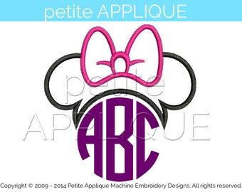 cute minnie monogram Applique Design for Embroidery Machines Instant Download - 3 sizes