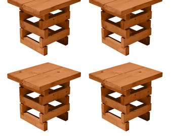 TROOPS BBQ Redwood Outdoor Mini-Bench, Set of 4, Natural Stain (8000154)