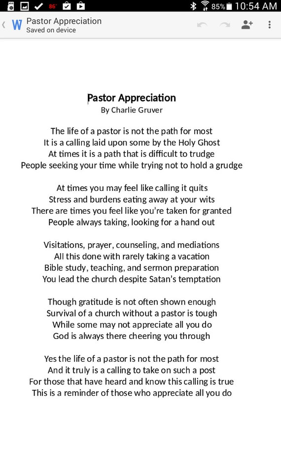 pastor poems anniversary | Textpoems.org
