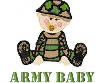 Army Baby Embroidery Design in 3 Sizes - Instant Download