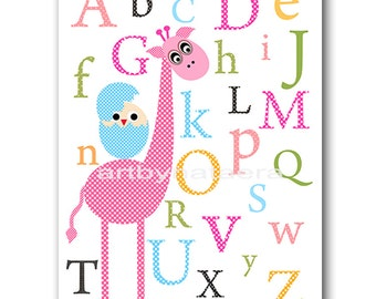 Giraffe Nursery Alphabet Nursery Digital file Children Art Kids Wall Art Baby Girl Room Decor Baby Girl Nursery 8x10 11X14 INSTANT DOWNLOAD