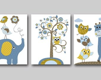INSTANT DOWNLOAD Art Elephant Nursery Digital Print Baby Boy Nursery Decor Printable Wall Art Digital Download Art set of 3 8x10 11X14