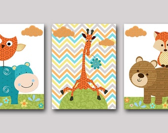 INSTANT Giraffe DOWNLOAD Print Baby Nursery Decor Digital Art Baby Boy Nursery Art Printable Art Digital Download Art Set of 3 8x10 11X14