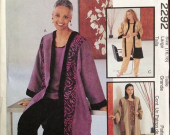 McCalls 2292 - Long Cardigan Style Jacket with T Shirt Style Top and Pull On Pants - Size Large 16 18