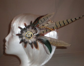 Brown, White, and Green Feather Hair Piece