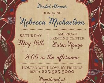 framed bridal shower invitation
