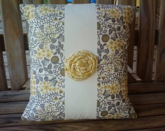 12 x 12 hand made yellow and grey decorative pillow cover with rose. Throw pillow cover, shabby chic, country, home decor, pillows