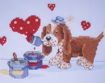 KL104 Painted with Love! Puppy Counted Cross Stitch Kit