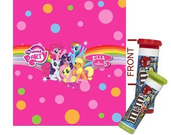 DIY Digital My Little Pony Printable Birthday Party Mini M&M Tube Wrapper, Label 001
