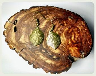 Handmade Small Bronze Leaf Earrings Bronze Leaves Earrings Handmade Jewelry Handmade Earrings