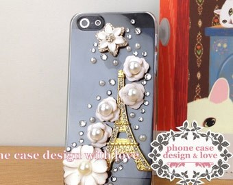 Beaded iPhone SE iPhone 5 / 5s Case Studded iPhone Case Studded iPHone 5 / 5s Case Eiffel Tower Studded Rhinestone Lovely White Daisy Flower
