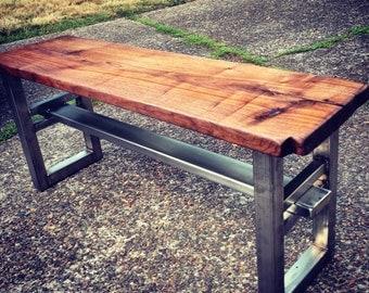 Industrial bench. Walnut bench.  Industrial bench. Hardwood bench.