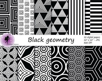 Black geometry paper, black paper with circles, triangles, squares, stripes, hexagons, rhombus,  Aztec Scrapbooking Papers, commercial use
