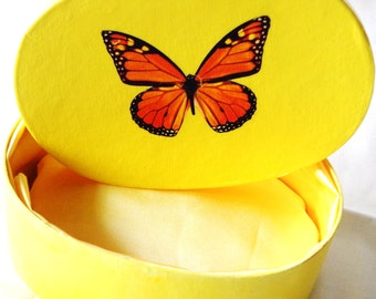 Yellow Padded Box with a Butterfly