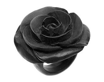 "Hand Carved - ""Rosebud"" Rose Flower Wood Ring (L)"