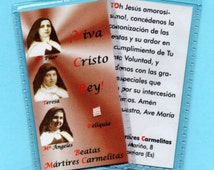 BLESSED DISCALCED CARMELITE Martyrs relic card made by the Carmelite Nuns in Guadalahara in Spain. Martyrdom in July 1936 Spanish Civil War