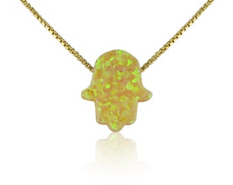 Yellow Opal Hamsa Necklace on Gold Plated Sterling Silver Chain • Safe to Get Wet • Very Rare Opal to Become a unique Necklace Gift