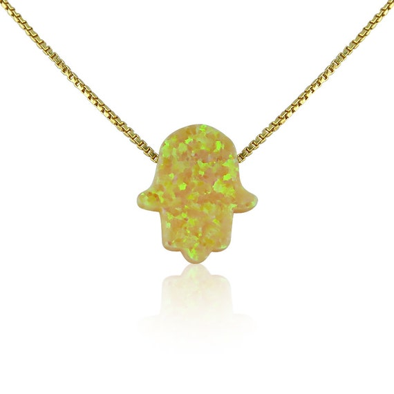 hand opal necklace sunshine yellow on gold plated sterling silver ON SALE NOW