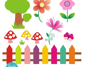 Flower fence digital clipart elements for Personal and Commercial use. (paper crafts, card making, scrapbooking) Instant download