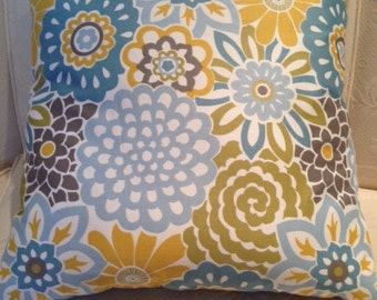 Yellow and Turquoise Blooms Pillow Cover