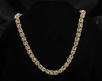 Chainmaille Byzantine Necklace - Handmade 18g Bright Aluminum / Orange Anodized Aluminum