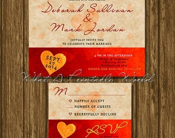 Wedding invitation red heart, RSVP tag, printable, customizable