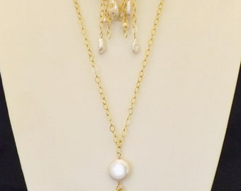 "30"" Gold Filled chain cluster necklace and earrings made with white fresh water pearls."