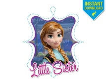 Frozen Little Sister Anna Printable Iron On Transfer or Use as Clip Art - DIY Disney Frozen Little Sister Shirt Frozen - Instant Download