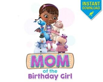 Doc McStuffins MOM of Birthday Girl Printable Iron On Transfer or Use as Clip Art - DIY Disney Doc Mc Stuffin Birthday Shirt Matching Family