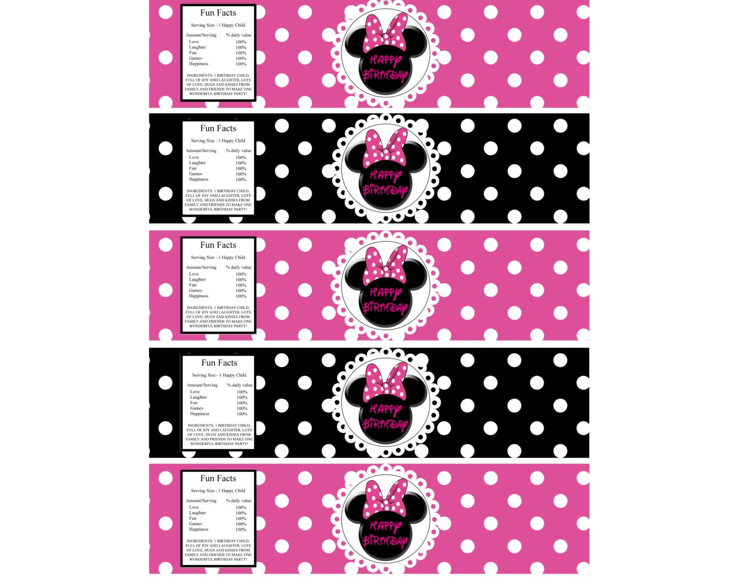 Minnie Mouse Water Bottle Labels Instant by TickleMePrintables