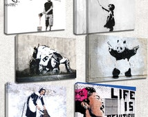 Banksy prints/set of 6 new frames/ printed on canvas and stretched on wooden frames