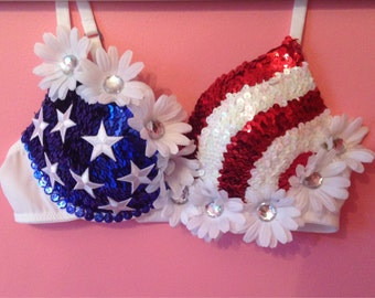 American Flag Rave Bra with optional LED lights