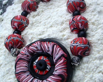 Handmade necklace polymer clay pendant red fire