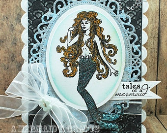 Handmade Textured Mermaid Greetiing Card