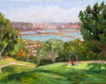 Kate Sessions Park at the Golden Hour. Oil Painting