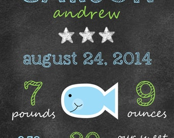 Little Fishie Newborn Chalkboard Print