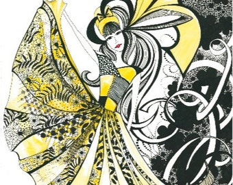 Black white and Yellow Ink Illustrated Blank Gift Card - ' Miss Daffodil'