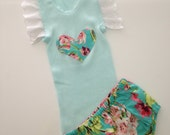 Baby Girl lace and floral Singlet and Nappy Cover Set size 1