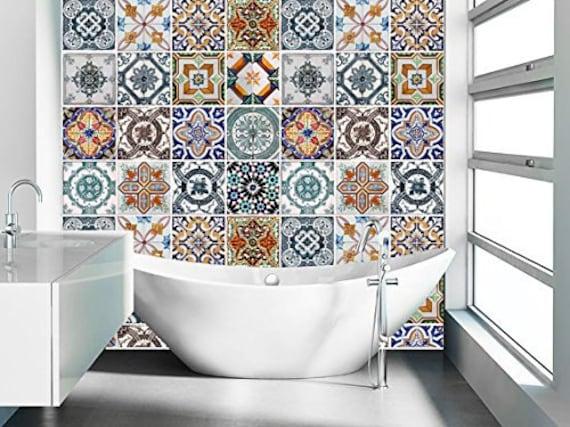 dosseret de cuisine tiles dosseret decal dosseret tile tuiles portugais lot de - Stickers Tuile Vinyle Salle De Bain