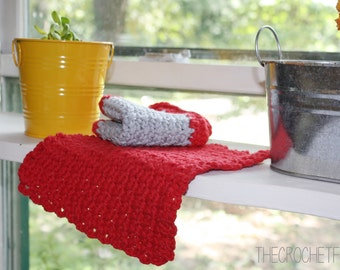 Set of Two (2) Cotton Crocheted Red and Gray Kitchen Dishcloths, Can also be Used as Washcloths, Eco-friendly