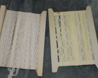 There are Two Flats of Lace Trim, Yellow w Ribbon in it and, White