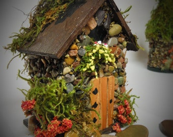 Mini STONE FAIRY HOUSES  3 Styles available with Stained Glass windows, Moss Roof Woodland Style