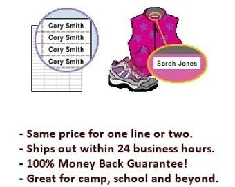 100 Iron-on Labels - Personalized Clothing Labels - FREE SHIPPING