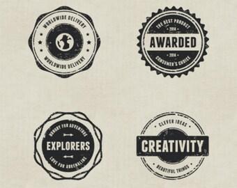 Vintage Rubber Stamp Vector Badges, Vintage Clipart, Rubber Stamps AI, Digital Instant Download, Adobe Illustrator