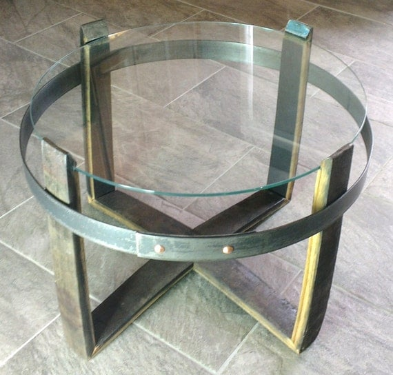 Glass Coffee Tables Etsy: Whisky Stave Coffee Table Glass Top By ScotGift On Etsy